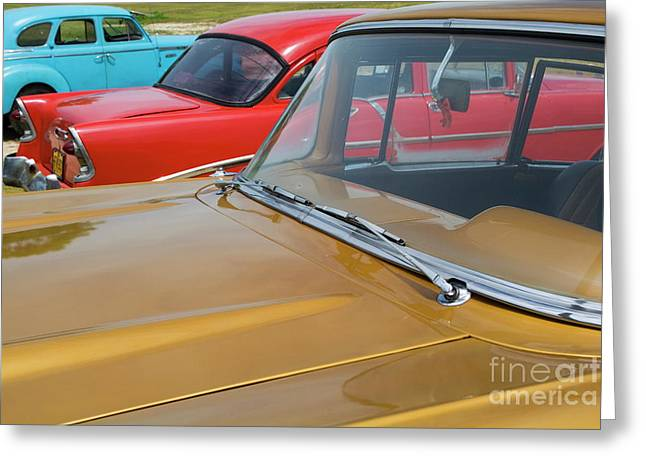 Classic American Cars Parked In Varadero Greeting Card by Sami Sarkis