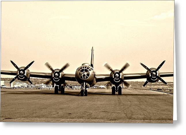 Classic B-29 Bomber Aircraft Greeting Card by Amy McDaniel