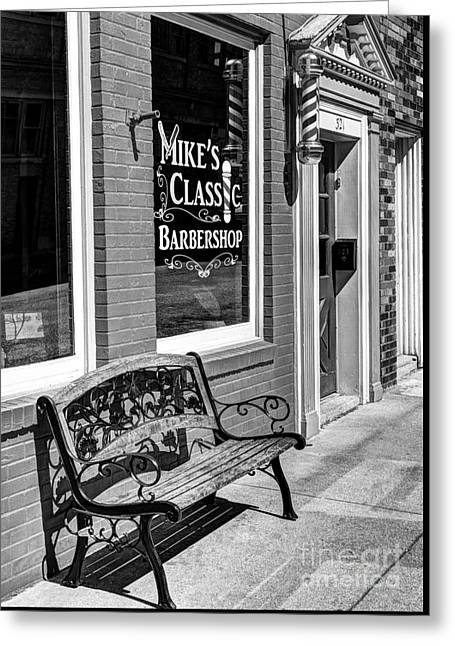 Classic Barbershop Bw Greeting Card by Mel Steinhauer