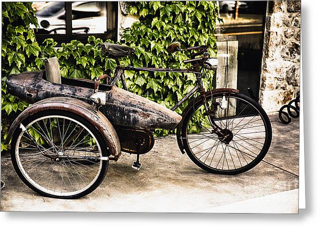 Classic Bicycle With A Side Car In Napa Valley Greeting Card by George Oze