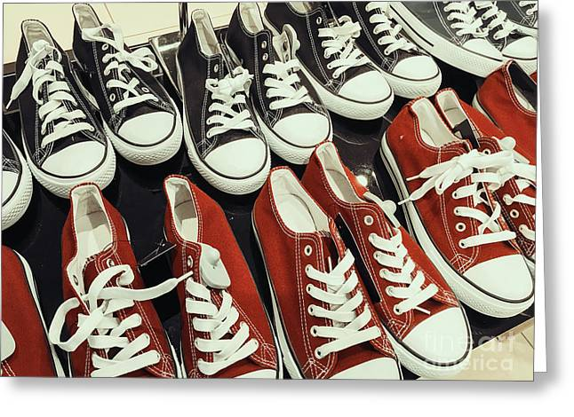 Classic Black And Red Sneakers Greeting Card by Radu Bercan