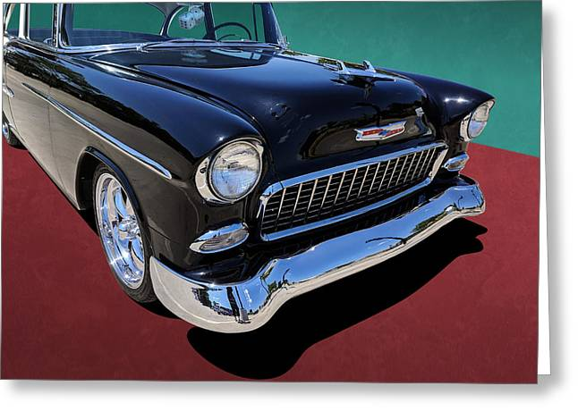 Classic Black And White 1950s Chevy Bel Air Greeting Card
