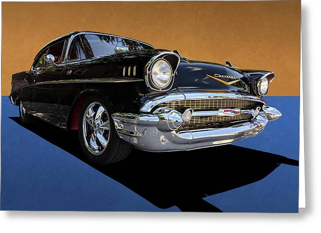 Classic Black Chevy Bel Air With Gold Trim Greeting Card