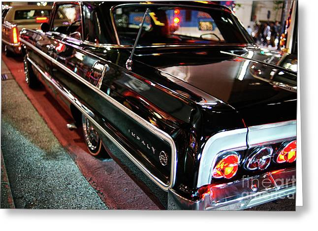 Greeting Card featuring the photograph Classic Black Chevy Impala by Dean Harte