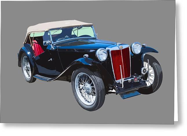 Classic Black Mg Tc Convertible British Sports Car  Greeting Card by Keith Webber Jr