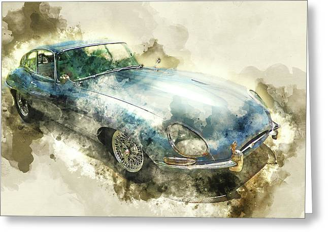 Classic Blue Jaguar Greeting Card
