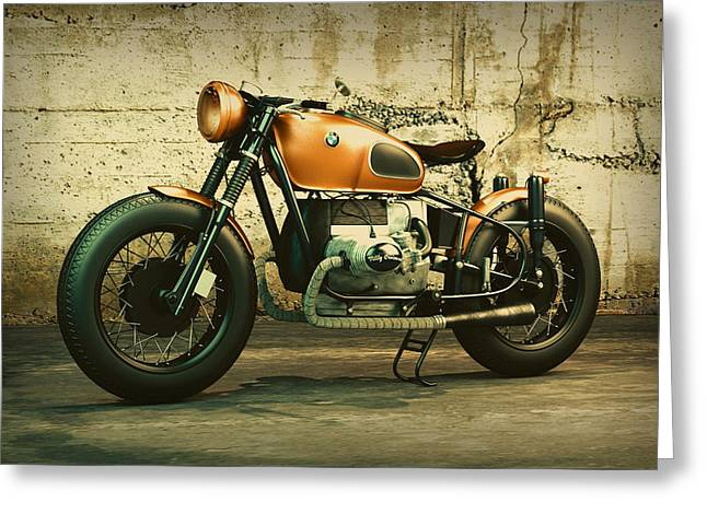 Classic Bmw Motorcycle Vintage Shot Against Concrete Wall Greeting Card