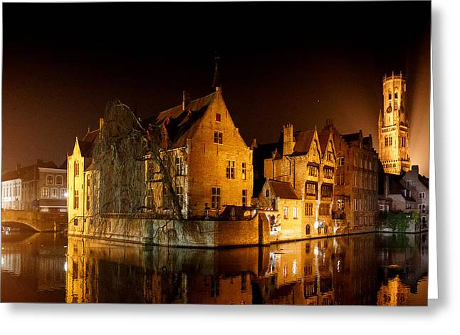 Classic Bruges At Night Greeting Card