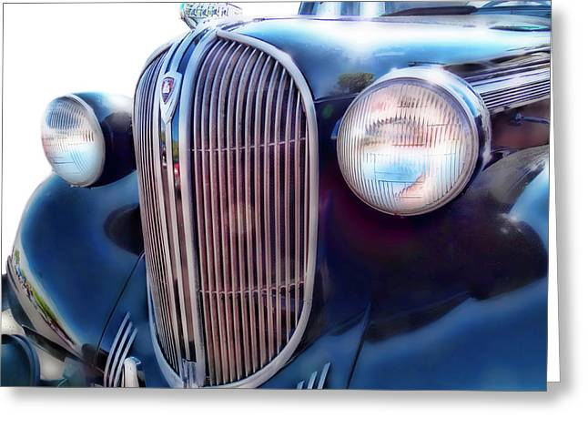 Greeting Card featuring the photograph Classic Car Grill 1938 Plymouth by Ann Powell
