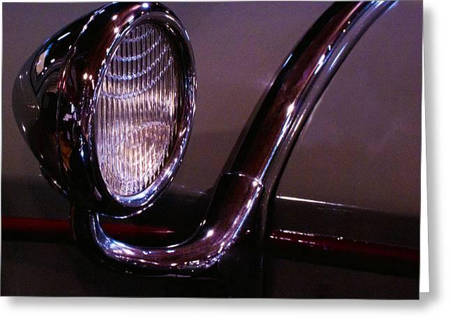 Classic Car Head Light Greeting Card by Karen Hanley Colbert