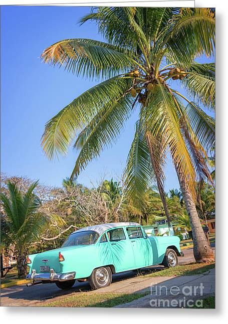 Classic Car In Playa Larga Greeting Card
