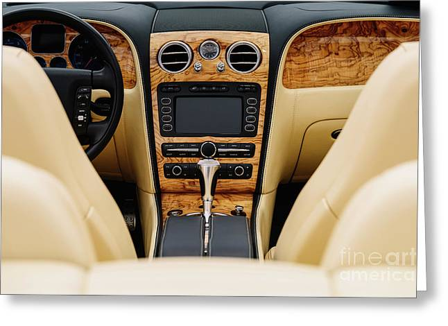 Classic Car Interior With Dashboard View Greeting Card