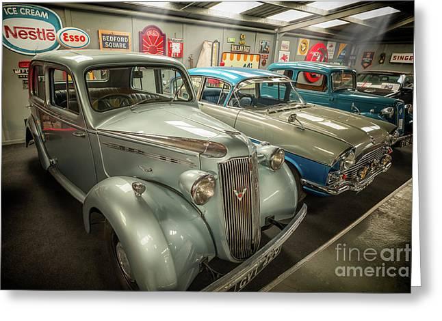 Classic Car Memorabilia Greeting Card by Adrian Evans