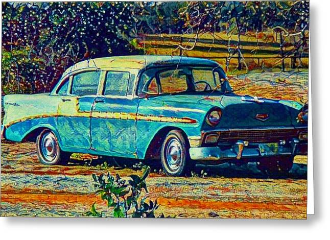 Greeting Card featuring the digital art Classic Car On An Old Dirt Road by David Mckinney