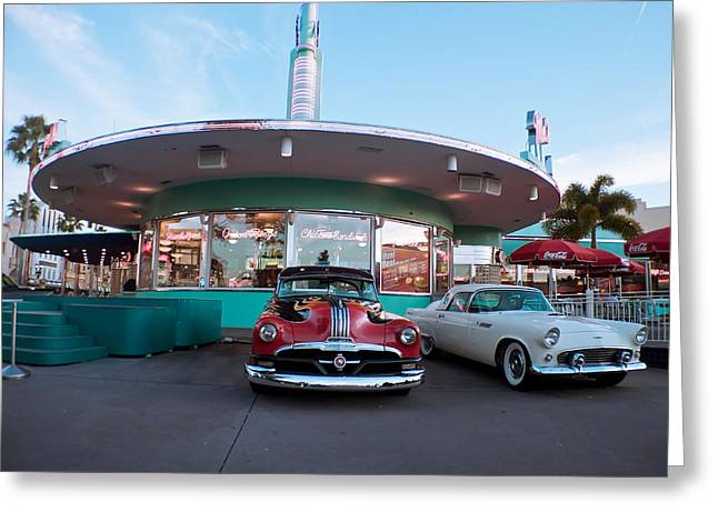 Classic Cars At Mel's Drive In Greeting Card