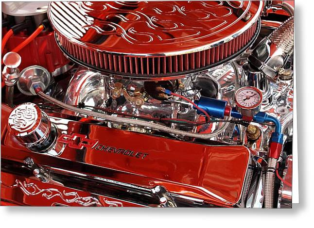 Classic Chevrolet Engine Greeting Card by Dennis Stein