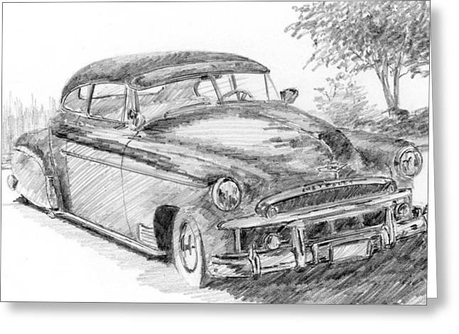Classic Chevy Coupe Sketch Greeting Card