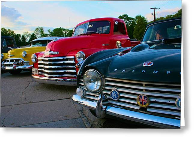 Classic Chrome Bumpers Greeting Card
