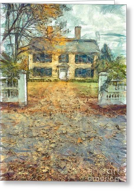 Classic Colonial Home In Autumn Pencil Greeting Card by Edward Fielding