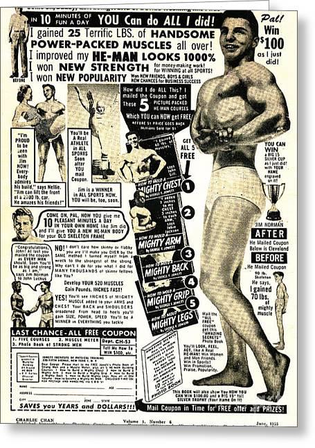 Classic Comic Book Ad I Improved My He Man Looks 1000 Percent Greeting Card