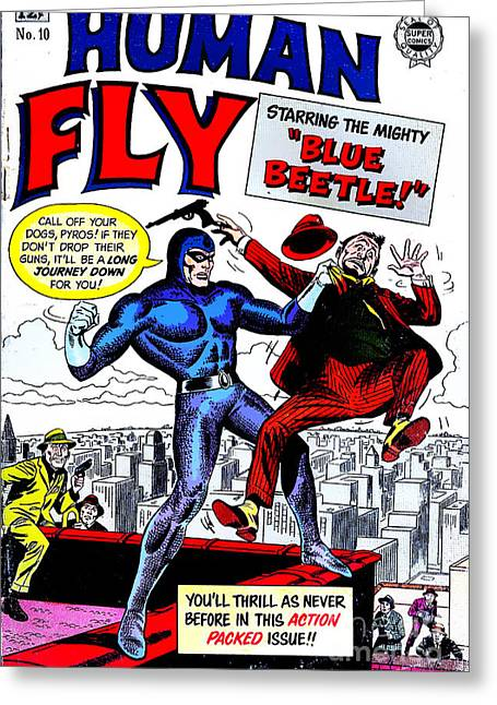 Classic Comic Book Cover - Human Fly - 0118 Greeting Card