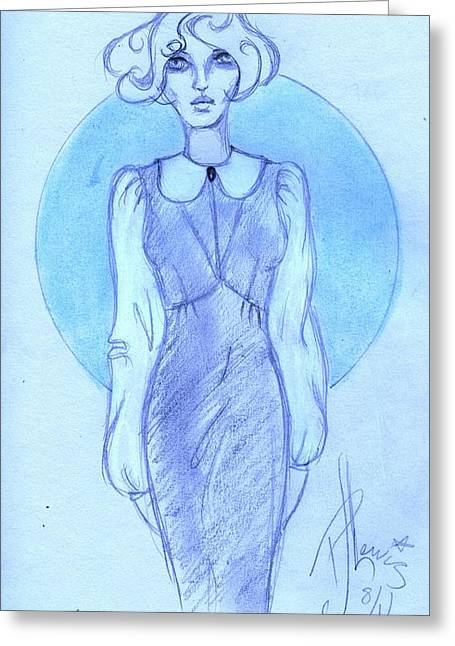 Greeting Card featuring the drawing Classic Fitted Jumper by P J Lewis