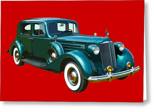 Classic Green Packard Luxury Automobile Greeting Card