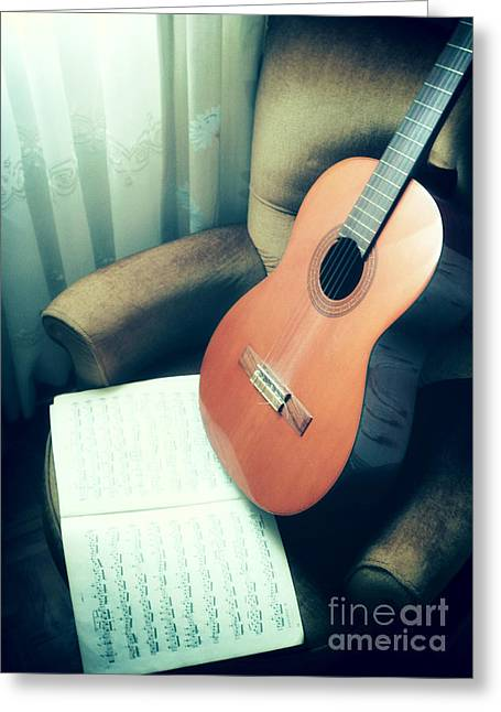 Classic Guitar Greeting Card by Carlos Caetano