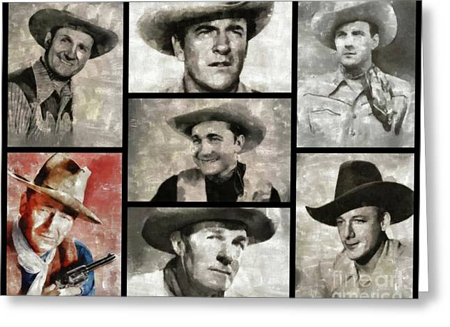 Classic Hollywood Cowboys Greeting Card by Esoterica Art Agency