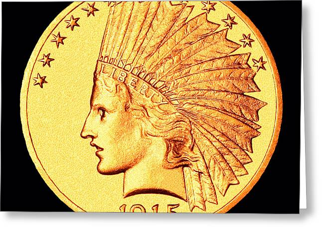 U.s. Coins Greeting Cards - Classic Indian Head Gold Greeting Card by Jim Carrell