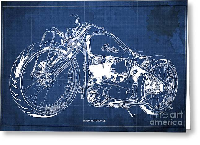 Classic Indian Motorcycle Blueprint Greeting Card by Pablo Franchi