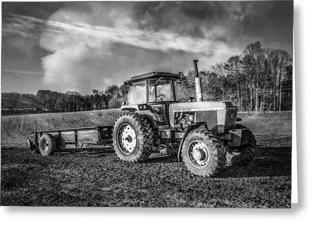 Classic John Deere Tractor In Black And White Greeting Card