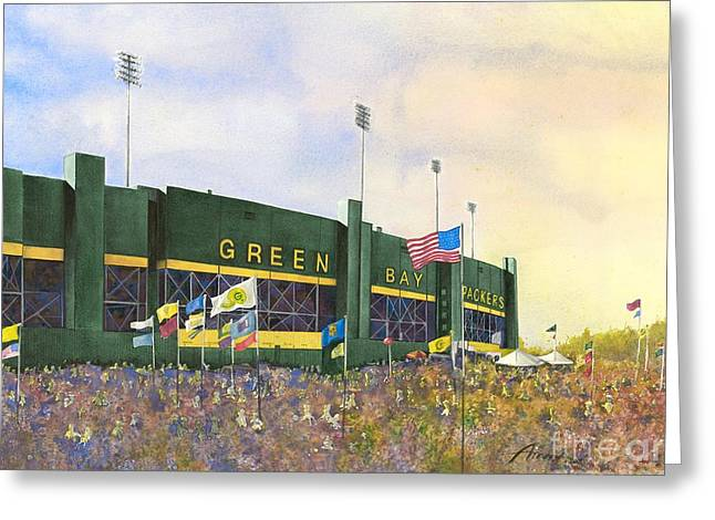 Classic Lambeau Greeting Card by Amy Stielstra