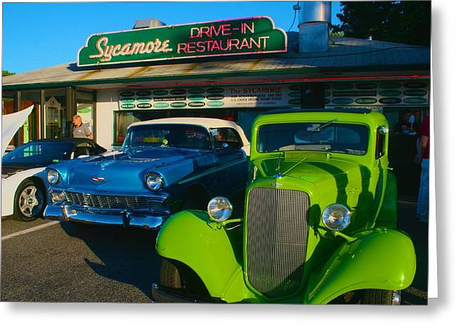 Greeting Card featuring the photograph Classic Lime Green Car In Front Of The Sycamore by Polly Castor