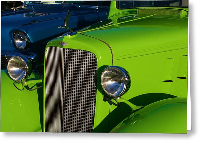 Greeting Card featuring the photograph Classic Lime Green Car by Polly Castor
