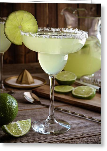Greeting Card featuring the photograph Classic Lime Margaritas On The Rocks by Teri Virbickis