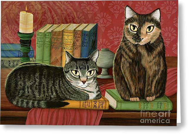 Classic Literary Cats Greeting Card by Carrie Hawks