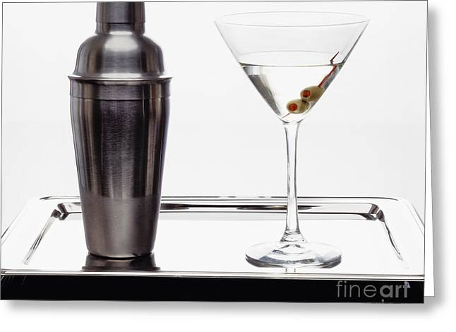 Classic Martini With Green Olives Greeting Card by George Oze