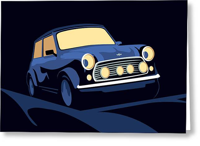 Classic Mini Cooper In Blue Greeting Card by Michael Tompsett