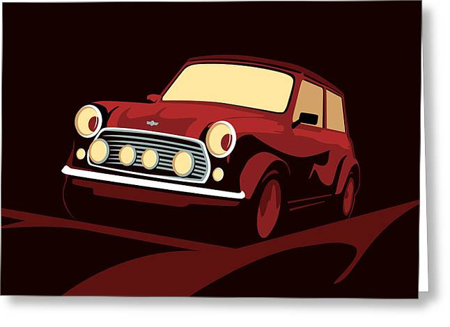 Classic Mini Cooper In Red Greeting Card by Michael Tompsett