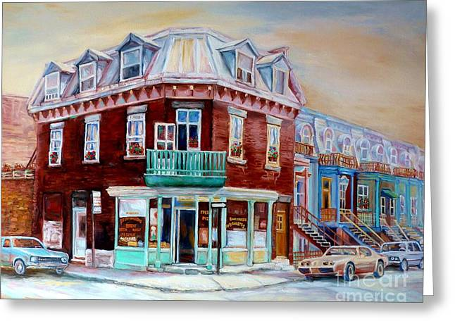 Classic Montreal Storefront Painting Peloponissos Pizza Bakery Neighborhood Memories Canadian Art  Greeting Card