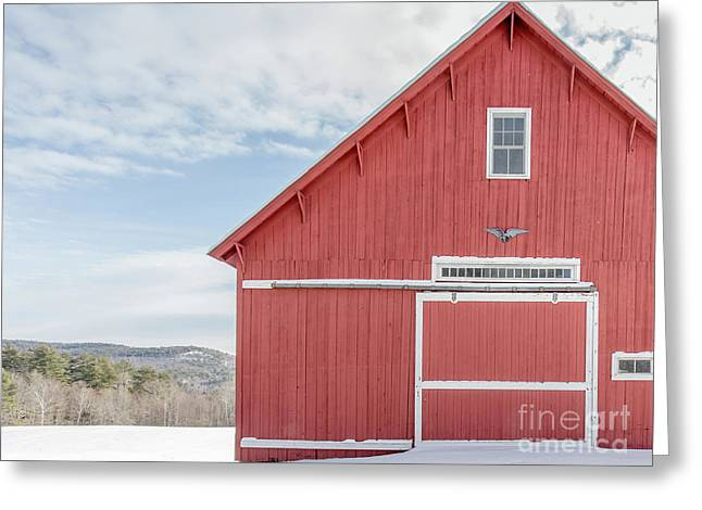 Classic New England Red Barn In Winter Newport New Hampshire Greeting Card