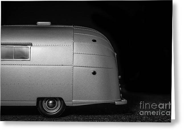 Classic Old Airstream Vintage Travel Camping Trailer Greeting Card by Edward Fielding