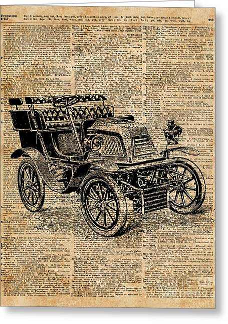 Classic Old Car,vintage Vehicle,antique Machine Dictionary Art Greeting Card by Jacob Kuch