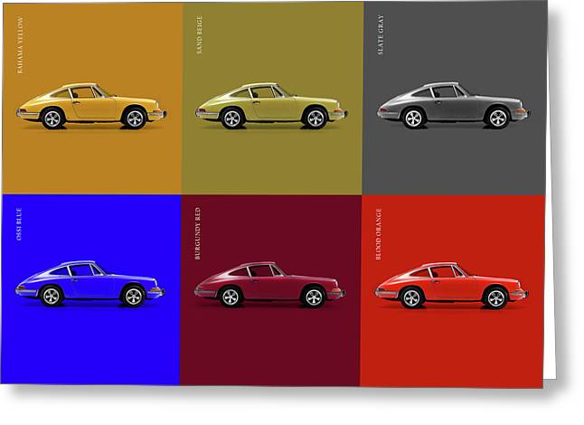 Classic Porsche 911 Colours Greeting Card by Mark Rogan