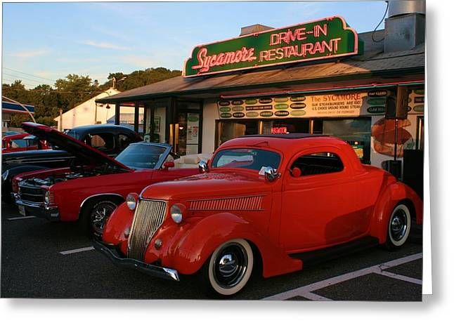 Classic Red Car In Front Of The Sycamore Greeting Card