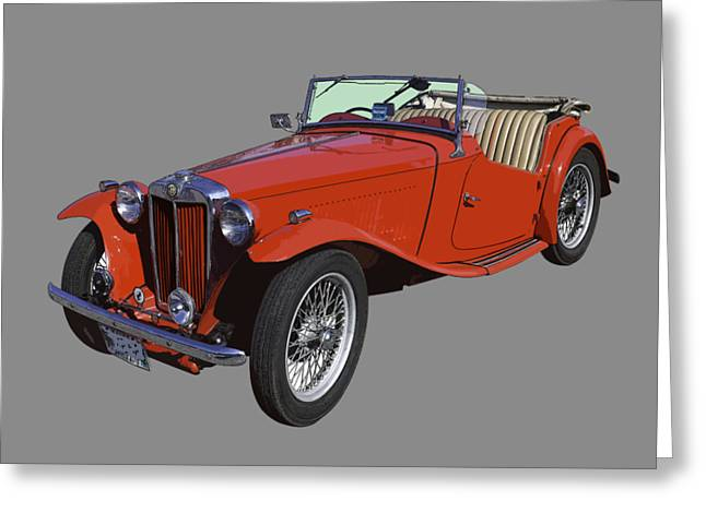 Classic Red Mg Tc Convertible British Sports Car Greeting Card by Keith Webber Jr