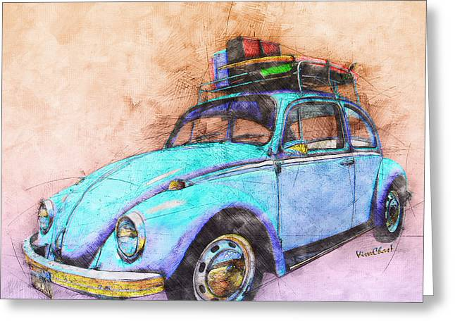 Classic Road Trip Ride Watercolour Sketch Greeting Card