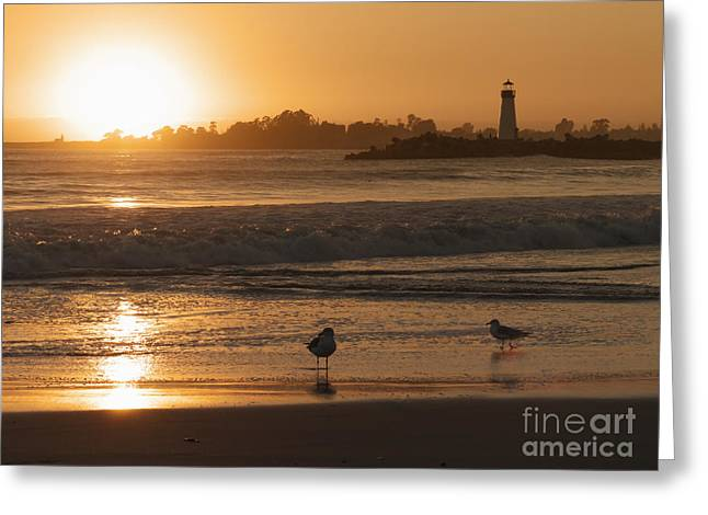 Classic Santa Cruz Sunset Greeting Card by Paul Topp