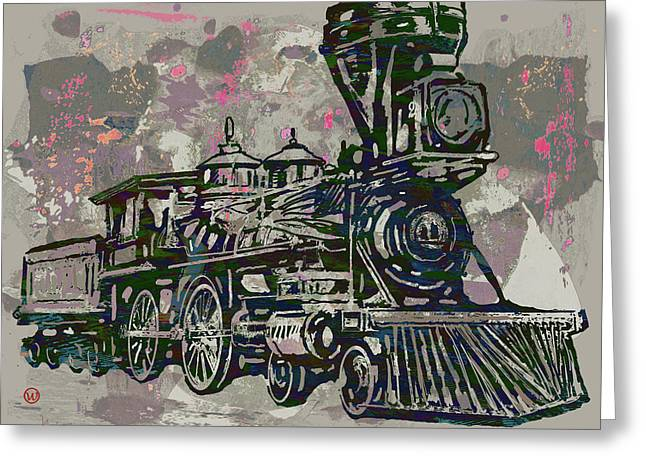 Classic Steam Train - New Pop Art Poster Greeting Card by Kim Wang